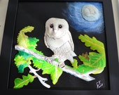Framed Barn Owl on Stretched Canvas  LEATHER SCULPTURE 3D Art, Wall Art, Leather, Sculpture, Original Signed Art.  Home & Living