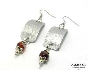 """Aluminium earrings """"Marine"""" and carnelian beads"""