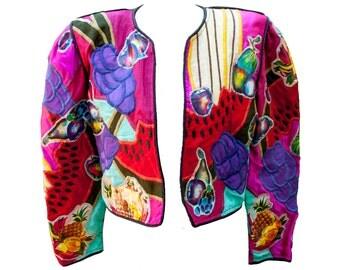 1980s Large Jacket Judith Roberts Fruit Novelty Couture Designer Fashion Rainbow Dada Frida Kahlo Rave Club Kid Bolero Cropped Painted Melon