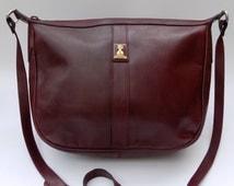 Sale! BURBERRY / Burberrys Burgundy Leather Shoulder/ Crossbody bag. British Designer purse