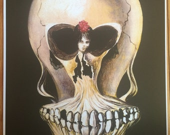Salvadore Dali Ballerina And Skull print poster wall art 11 x 14