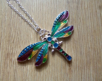 Dragonfly Necklace Dragonfly Pendant Dragonfly Jewellery Enamel Resin Blue Green Purple Yellow
