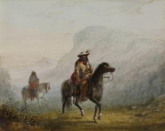 """Alfred Jacob Miller: """"Bourgeois"""" W---r, and His Squaw. Fine Art Print/Poster. (003843)"""