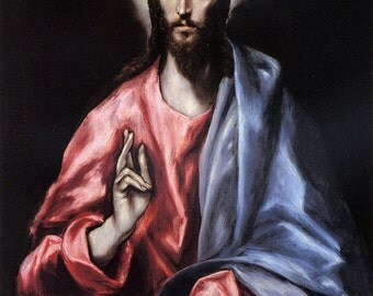 El Greco: Christ Blessing (Jesus, The Saviour of the World). Fine Art Print/Poster (00667)