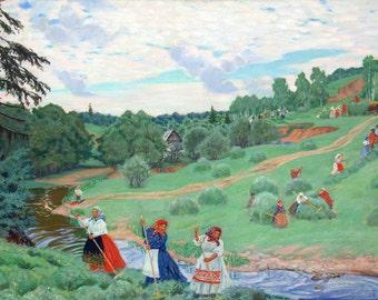 Boris Kustodiev: Haymaking. Fine Art Print/Poster.