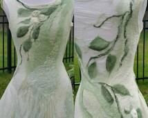 Nuno Felted Woodland Fairy Dress. Felted Pixie Tunic. Short Alternative Bridal Dress. Nuno Felted Clothing.  Moss and Cream. Faerie Costume.