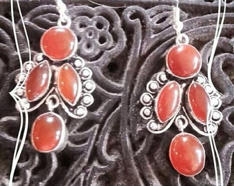 Earrings carnelian and Silver 925
