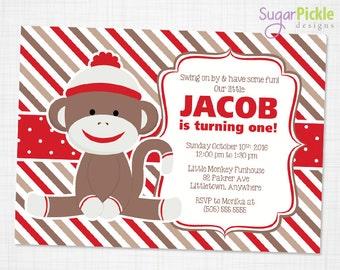 Sock Monkey Invitation, Boy Sock Monkey Invitation, Sock Monkey Party, Sock Monkey birthday invitation, Monkey printable invitation,