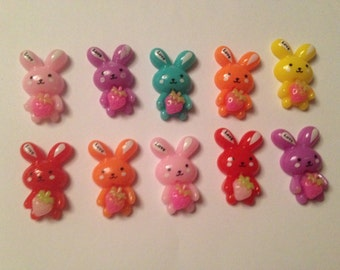 10 Flat back Bunny Cabochons Mixed Colours.