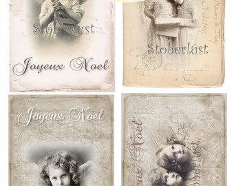 4 x Postcards Angel, Lace, Joyeux Noel shabby chic Background , instant download digital collage