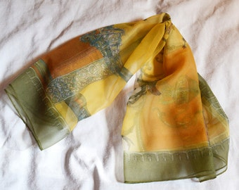 Vintage 1960s scarf - Peti-Crepe, Greek or Roman Themed, Sheer