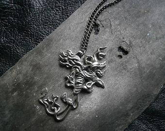 Phoenix Pendant Necklace, Firebird, Fantasy, Pewter