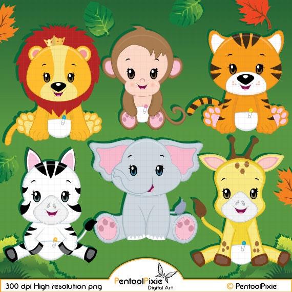 Jungle animal clipart Baby animals Safari clipart