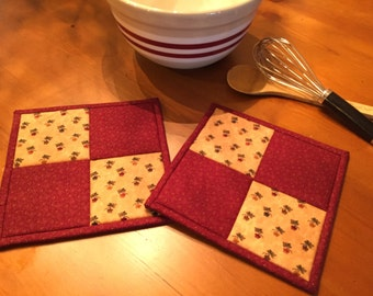 Quilted Potholders / Potholders / Hot Pads  / Country Decor / Kitchen Potholders / Item #1614