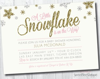 "Snowflake Winter-Themed Baby Shower Invitation: ""A Little Snowflake is on the Way""; Winter-Themed Baby Shower Invite, Printable DIY Invite"