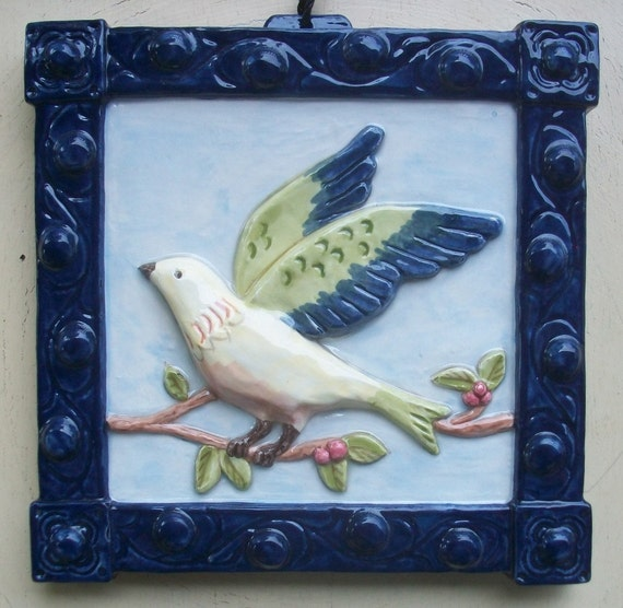 Ceramic Bird Art Tile -- Bird on a Vine art Tile Landing, Decorative Tile