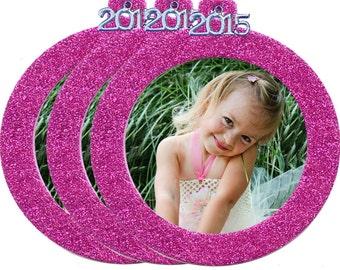 Magnetic Glitter Round Photo Ornaments