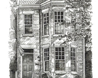 Custom House Portrait Pen and Ink