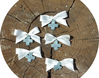 Witness Pins, Martyrika, Lace Cross for Christening (30pcs) with Wooden box