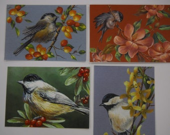ACEO set of 4 Chickadee bird Flower Wildlife prints