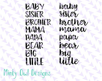 Cricut SVG - Mama Bear SVG - Baby Bear Cut File - Sister Bear - Brother Bear - Papa Bear - Word Combinations - SVG Cut File Set - Silhouette
