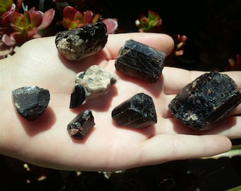 Black Tourmaline Schorl 7 piece large parcel- 137grams