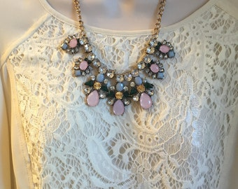 Mint Green  Pink Kelly Green Crystal Sparkle Chandelier Statement Necklace