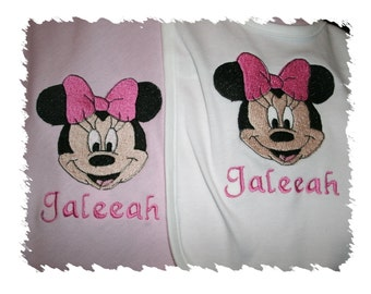 Minnie Mouse with Bow Personalized Infant Toddler Baby Blanket & Bib Set Jungle Any color