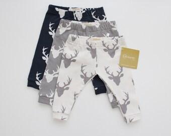 Deer Leggings / Baby Leggings / Woodland Leggings / Navy Leggings / Gray Leggings / Gender Neutral Leggings Set/ Deer / Girl Woodland