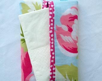 Pocket tissue holder, travel tissue cover, handbag tissue pouch, floral tissue cover