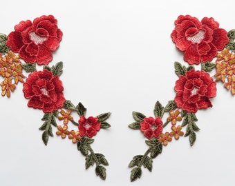 One pair of pink, red, green floral guipure lace embroidered necktrim / corsage appliques