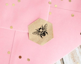 Honey bee hexagon brown kraft sticker