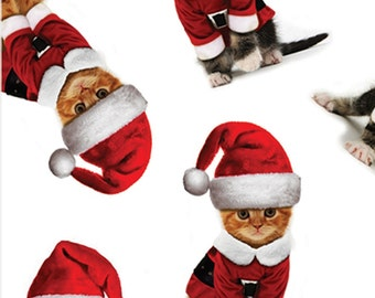 "Santa Cat / Kitten Christmas Tissue Paper #841 .... 10 large sheets .. 20"" x 30"""