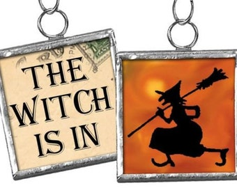 The Witch is In Framed Ornament / Charm #62 - Reversible Halloween