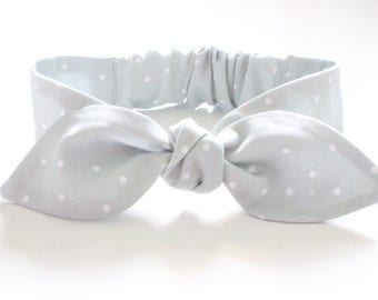 Baby Headband, Newborn Headband, Baby Girl Headband - steel grey pindots