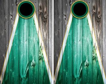 Woodgrain Green and Yellow Cornhole Decal Wrap Set