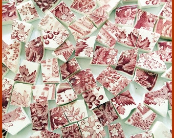 """65 Broken China Mosaic Tiles 1/2"""" SHABBY Vintage RED Pink White TOILE Pastoral Flowers Leaves"""