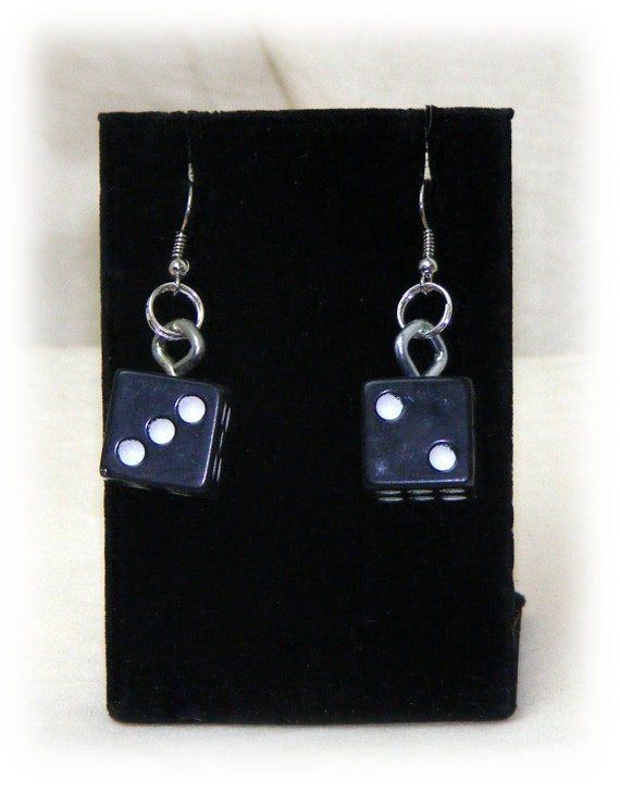Black Dice Dangle Earrings . . . pierced . . new
