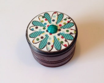 Wood Box, Little Flower Pill Box, Trinket Box, Ring Box, colorful Polka Dot and Teal, Gift for her