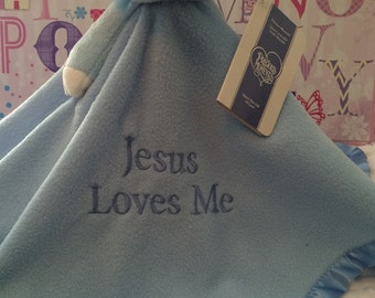 Blue Lamb Plush Blanket - Precious Moments Security Blanket Jesus Loves me- Personalized