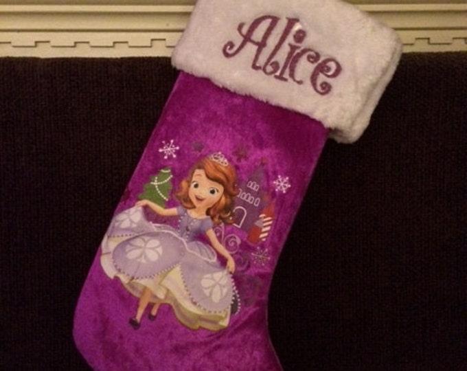 "Sofia the 1st Princess  18"" Velvateen Christmas Stocking Plush Cuff - Personalized"