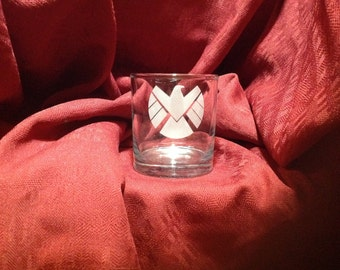 Agents of Shield themed  engraved glassware