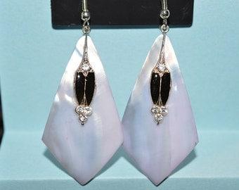 Beautiful Vintage Soft Purple Mother of Pearl, Black Enamel and Rhinestone Oval Earrings (1017156)