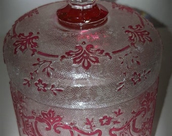 NEW - Antique Art Glass - Val Saint Lambert, Belgium - Signed Cameo Vanity Powder Box - Acid-etched marvel