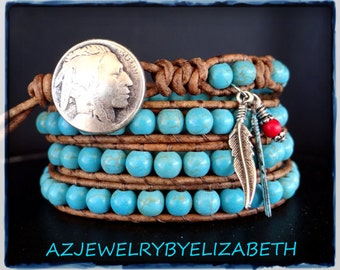 Hand Crafted Turquoise And Leather Native American Wrap Bracelet, Beaded Bracelet.