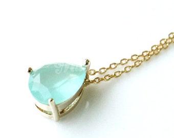 Dainty mint teardrop necklace, Mint necklace, Bridesmaid gift, Mint wedding jewelry, Bridal necklace, Mint jewelry, Mint dainty necklace