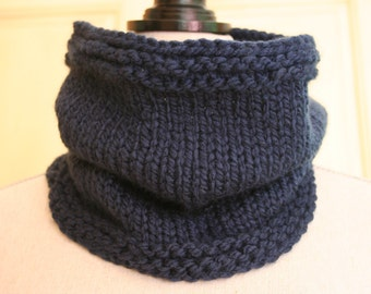 Hand Knit Cowl / Snood  / Navy Blue Infinity Scarf /Knitted Cowl / Navy Blue Cowl