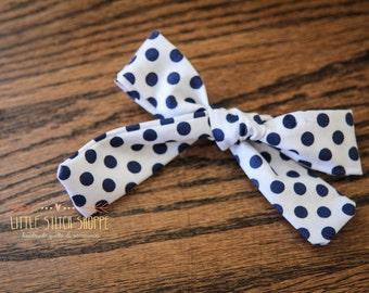 Fabric Bow, Hair Bow, Hair Clip, Toddler Bow, Baby Bow, Alligator Clip- Navy Polka-dot