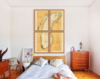 "Lake Michigan map 1923 Vintage map of Lake Michigan, 1 or 4 prints up to 48x72"" nautical chart, also in blue - Limited Edition of 100"