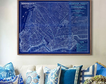 "Map of Brooklyn 1874, Vintage Brooklyn map up to 40x30"" Brooklyn Poster in beige or blue, Brooklyn New York NY - Limited Edition of 100"